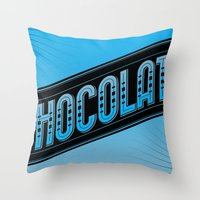 chocolate Throw Pillows featuring Chocolate by Rhys Jenkins