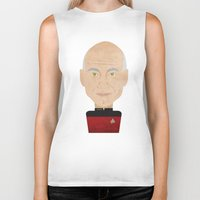 picard Biker Tanks featuring Captain Picard by Sam Del Valle
