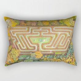 Autumn Maze drone shot Rectangular Pillow