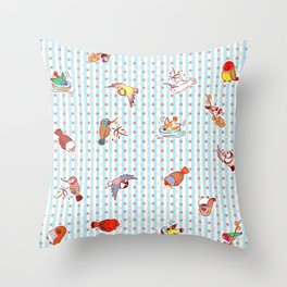 Cute cartoon finches pattern Throw Pillow