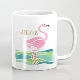 Sparkly Fabulous Watercolor Pink Flamingo Coffee Mug