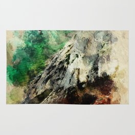 The Lighthouse - Abstract in Terracotta, green and Pale Yellow Rug