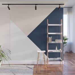 Blush meets Navy Blue & White Geometric #1 #minimal #decor #art #society6 Wall Mural