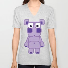 Super cute cartoon purple pig - bring home the bacon with everything for the pig enthusiasts! Unisex V-Neck