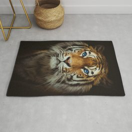 Wild Tiger with Blue eyes Rug