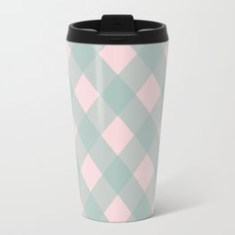 Pink & Mint Checkered Pattern-Mix and Match with Simplicity of Life on #Society6 Travel Mug