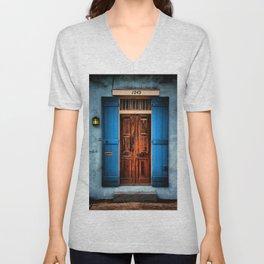 French Quarter Antique New Orleans Doorway Unisex V-Neck