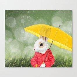 It's raining, little bunny! Canvas Print