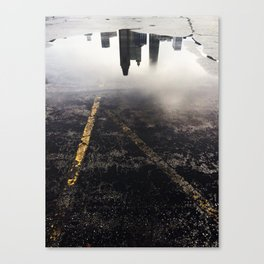 Reflection of Chicago in a Puddle Canvas Print