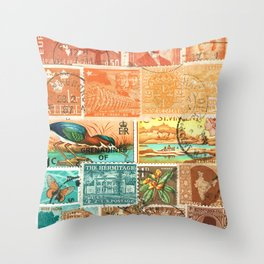 Green Heron at Sunset - postage stamp collage Throw Pillow