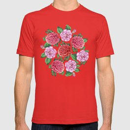 Camellia and Peonia pattern T-shirt