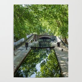 Lock Ecluse du temple at the Canal Saint-Martin in Paris Poster