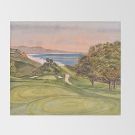 Torrey Pines South Golf Course Hole 6 Throw Blanket