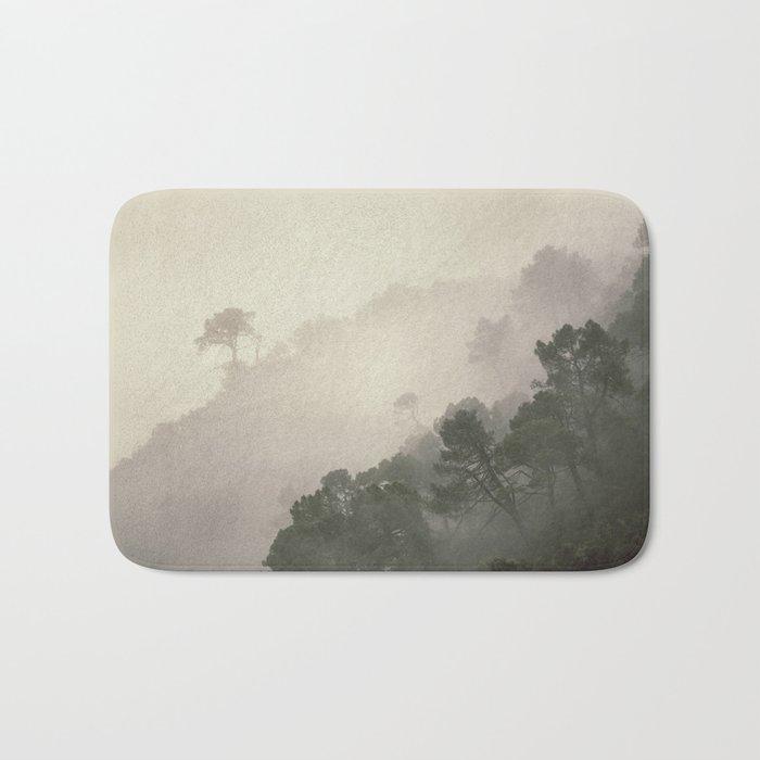 """""""Mountain light II"""". Foggy forest. Bath Mat"""