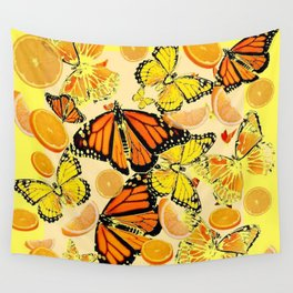 YELLOW MONARCH BUTTERFLY  & ORANGES MARMALADE Wall Tapestry