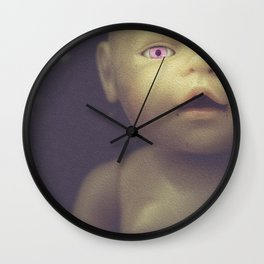 Dark, creepy, worrying doll - Something deeply inside me Wall Clock