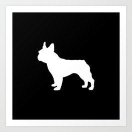 Boston Terrier black and white silhouette minimal pet portrait dog silhouettes Art Print