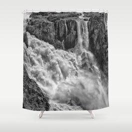 Black and White Beautiful Waterfall Shower Curtain