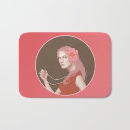 Girl Holding a Pearl Necklace Bath Mat