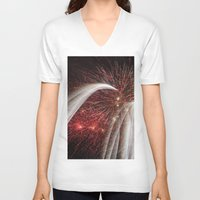 fireworks V-neck T-shirts featuring Fireworks by Carolina Jaramillo