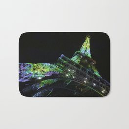 Eiffel Tower at Night with Coloured Lights Bath Mat