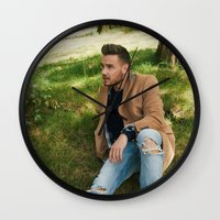 liam payne Wall Clocks featuring Liam Payne by behindthenoise