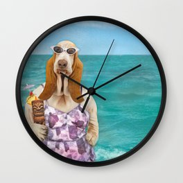 Basset Hound on the Beach Wall Clock