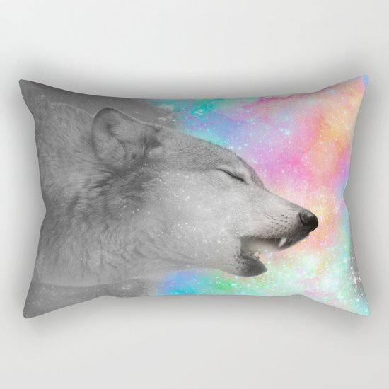 Breathing Dreams Like Air (Wolf Howl Abstract II: Gray) Rectangular Pillow