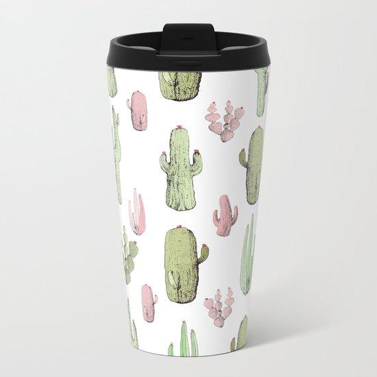 cactus pink and green Metal Travel Mug