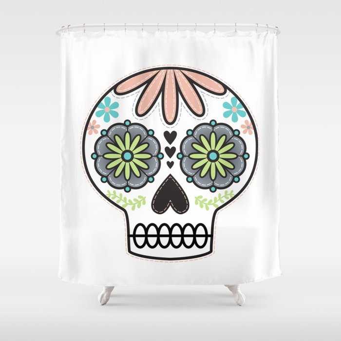 Sugar Skull Shower Curtain by lizurso