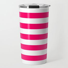 Bright Fluorescent Pink Neon and White Large Horizontal Cabana Tent Stripe Travel Mug