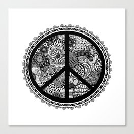 Zen Doodle Peace Symbol Black And White Canvas Print