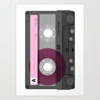 cassette Art Prints featuring Cassette by Sedef Uzer