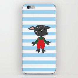 Cute black sheep. Cartoon style animal character illustration. iPhone Skin