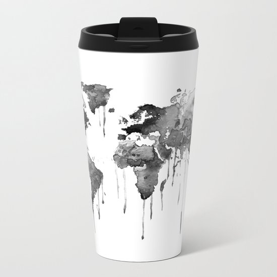 World map 2, black and white Metal Travel Mug