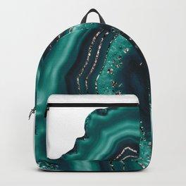 Teal Agate Rose Gold Glitter Glam #1 #gem #decor #art #society6 Backpack