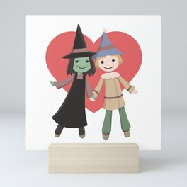 Cute witch and scarecrow Mini Art Print