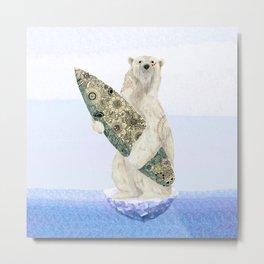 Polar bear & Surf (black) Metal Print