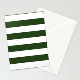 Large Dark Forest Green and White Cabana Tent Stripes Stationery Cards