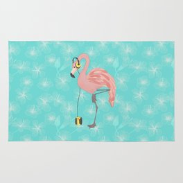 Walkman Flamingo with Hibiscus Rug