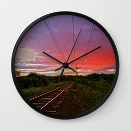 Northern sunset at white night Wall Clock