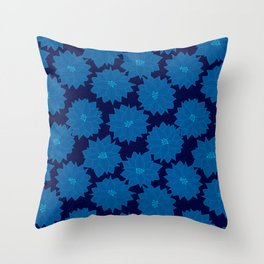 Poinsettia in Blues Throw Pillow