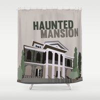 haunted mansion Shower Curtains featuring new Orleans square.. haunted mansion by studiomarshallarts
