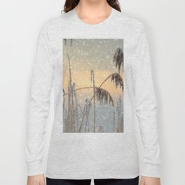 Phragmites Reed grass in the snowfall Long Sleeve T-shirt