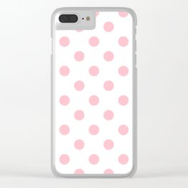 Polka Dots - Pink on White Clear iPhone Case
