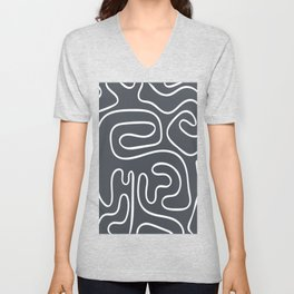 Doodle Line Art White Lines on Gray Background Unisex V-Neck