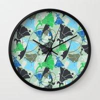 nouveau Wall Clocks featuring Nouveau Nouveau by Jacqueline Maldonado
