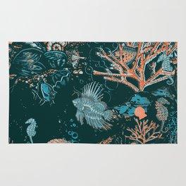 Coral Reef Aquatic Ocean Scene Rug