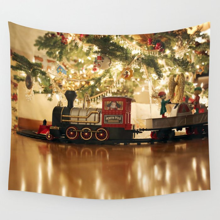 Christmas Tree Train.Christmas Tree And Train Wall Tapestry By Jmccool