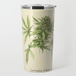 Vintage botanical print - Cannabis Travel Mug